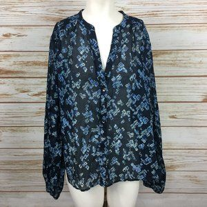 Free People Blue Floral Long Sleeve V Neck Blouse